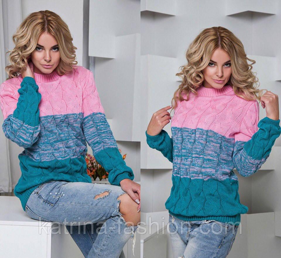 Женский модный теплый трехцветный свитер