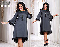 Платье свободное hi-low с окантовкой кружевом ат1100 Батал! (ГЛ)
