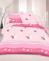 Комплект постельного белья TM Nostra Бязь Люкс розовый комбинированный цветы Двуспальный евро комплект