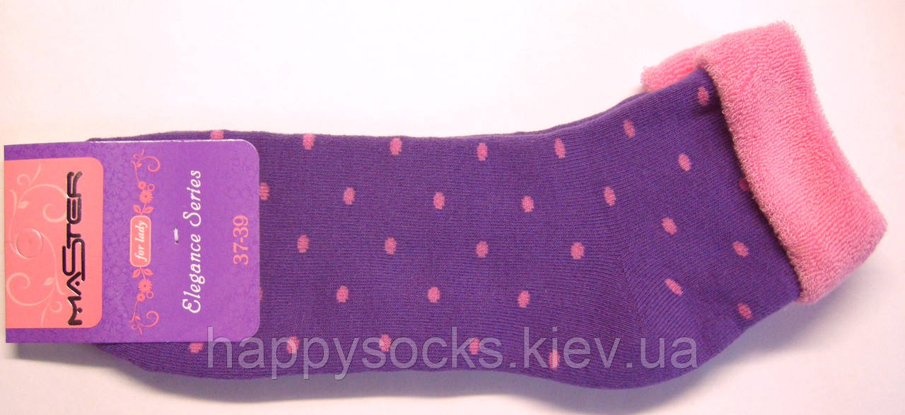 Носки фиолетового цвета махровые без резинки в горошек