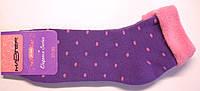 Носки фиолетового цвета махровые без резинки в горошек, фото 1