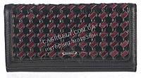 Вместительный плетеный кожаный женский кошелек высокого качества MARIO VERONNI art.MV-153-783 черный