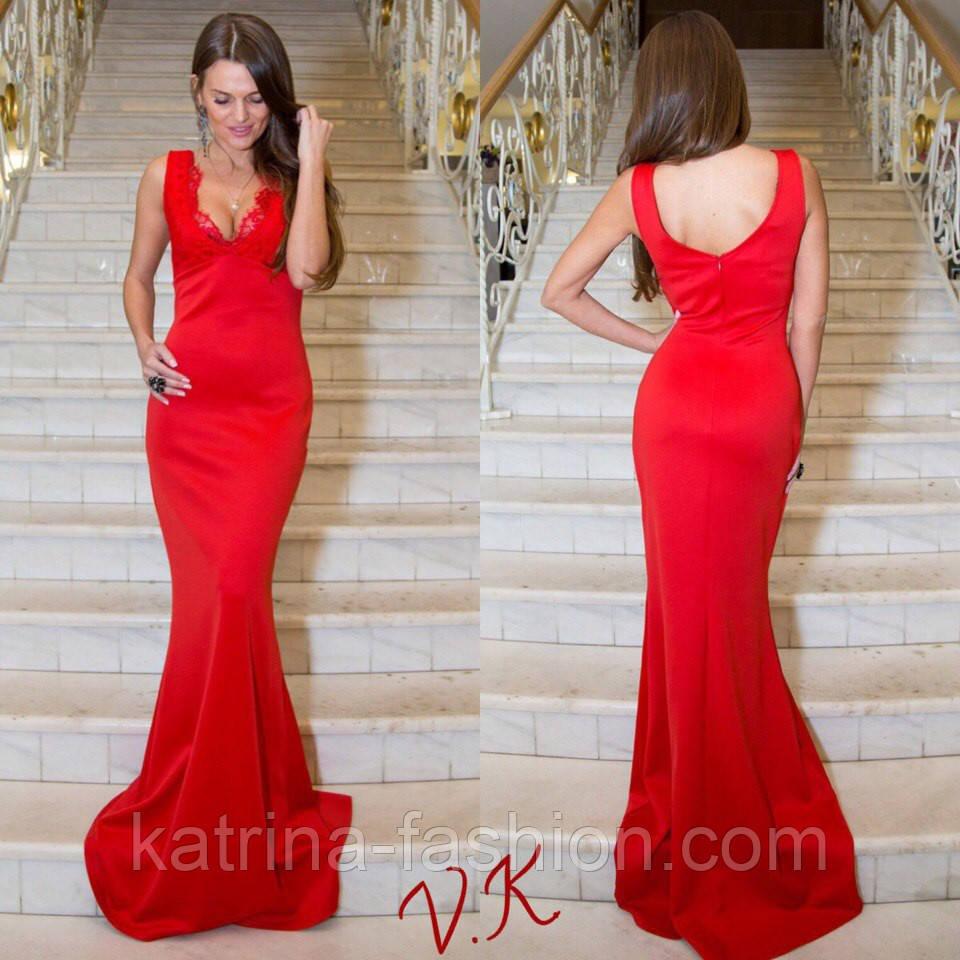 2125ff00d22 Женское стильное вечернее платье в пол с отделкой из кружева (3 цвета)