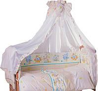 Детская постель Qvatro LUX, 8 эл, со змейками на бампере, бежевая, мышки с сыром, слон, кот, собачки