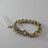 Стильный женский цепной браслет на руку золотистого цвета