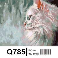 """Q785 """"Белый кот"""" Роспись по номерам на холсте 40х50см"""