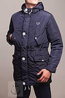 Парка мужская Fred Perry (фред пери) синяя курточка  на флисе с капюшоном р-р s m l xl