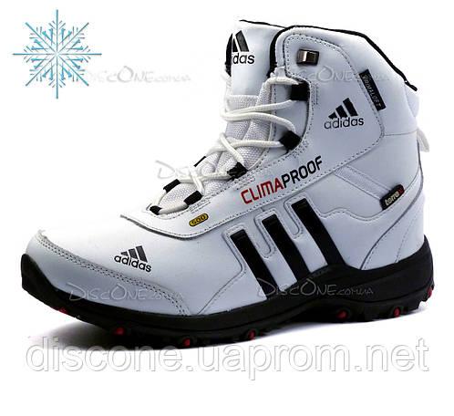 Зимние кроссовки Adidas Climaproof, мужские, высокие, на меху, белые