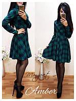 Женское трикотажное теплое платье с длинным рукавом