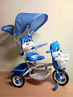 Велосипед 3-х колёсный Baby mix  с навесом котик синий