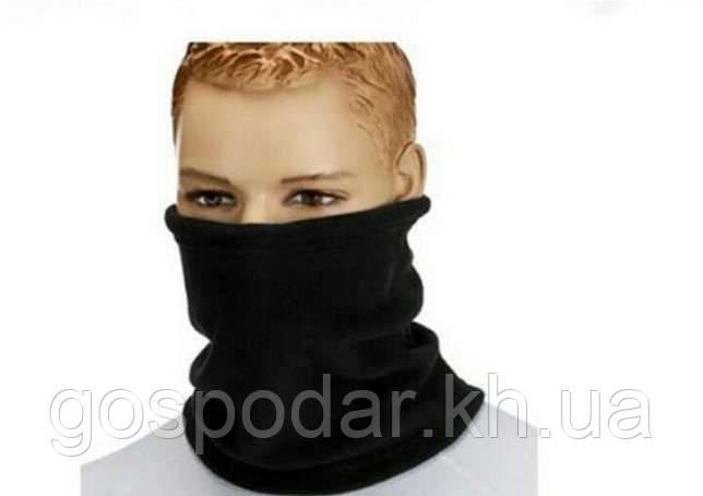 Зимовий бафф з флісу, теплий шарф-труба, шапка.Чорний