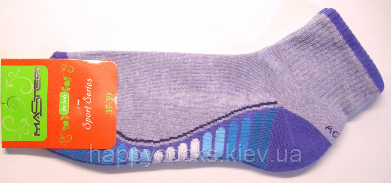 Носки голубого цвета женские спортивные с махровой стопой