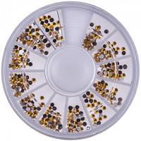 Стразы для ногтей в контейнере карусель №17-17, 2 мм, янтарные