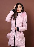 Стильная женская зимняя куртка розового цвета с мехом
