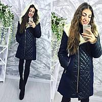 Зимнее стильное женское кашемировое пальто на меху овчина , фото 1