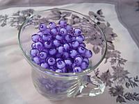 Бусины прозрачная с белым. 0,8 см Набор 25 штук. фиолетовые