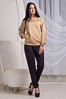 Стильный и теплый свитшот Микс свободного кроя из структурного трикотажа косичка 44-50 размера