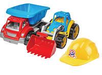 """Детский  игрушечный набор  """" Строитель """" , трактор + грузовик + каска , трактор  и  грузовик  большие"""