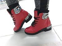 Модные оригинальные зимние женские ботинки, красные