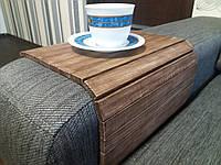 Деревянная накладка-столик на подлокотник дивана( винтаж) #2i2ua