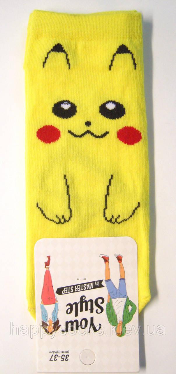 """Носки с """"Покемоном"""" желтые короткие женские"""