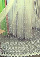 Тюль шампань с вышивкой