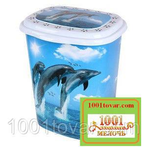 """Бак для белья Еlif, с рисунком """"Дельфины""""."""