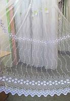 Гардинная тюль белая с вышивкой