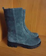 Ботинки (полусапожки) зимние женские мятные из натуральной замши