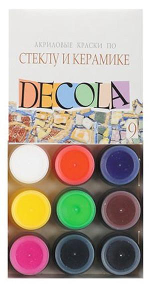 """Набір фарб по склу та кераміці 9 кольорів по 20 мл """"Decola """""""