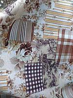 Ткань в стиле прованс Печворк Флора, цвет беж, коричневый, сизый