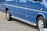 Мерседес 901 сталь Навесные пороги для микроавтобусов Premium d60 длинная база