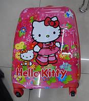 Чемодан детский дорожный 16 размер пластиковый Хелло Китти на 4 колесах 7554