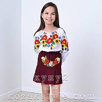 Спідничка з вишивкою (колір бордо, на 6-10 років)
