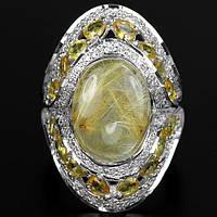 Серебряное кольцо 925 пробы с натуральным золотистым рутиловым кварцем и желтым сапфиром. Размер 16,5