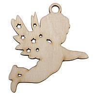 """Новогодняя деревянная елочная игрушка заготовка Подвеска """"Ангелочек летящий"""""""