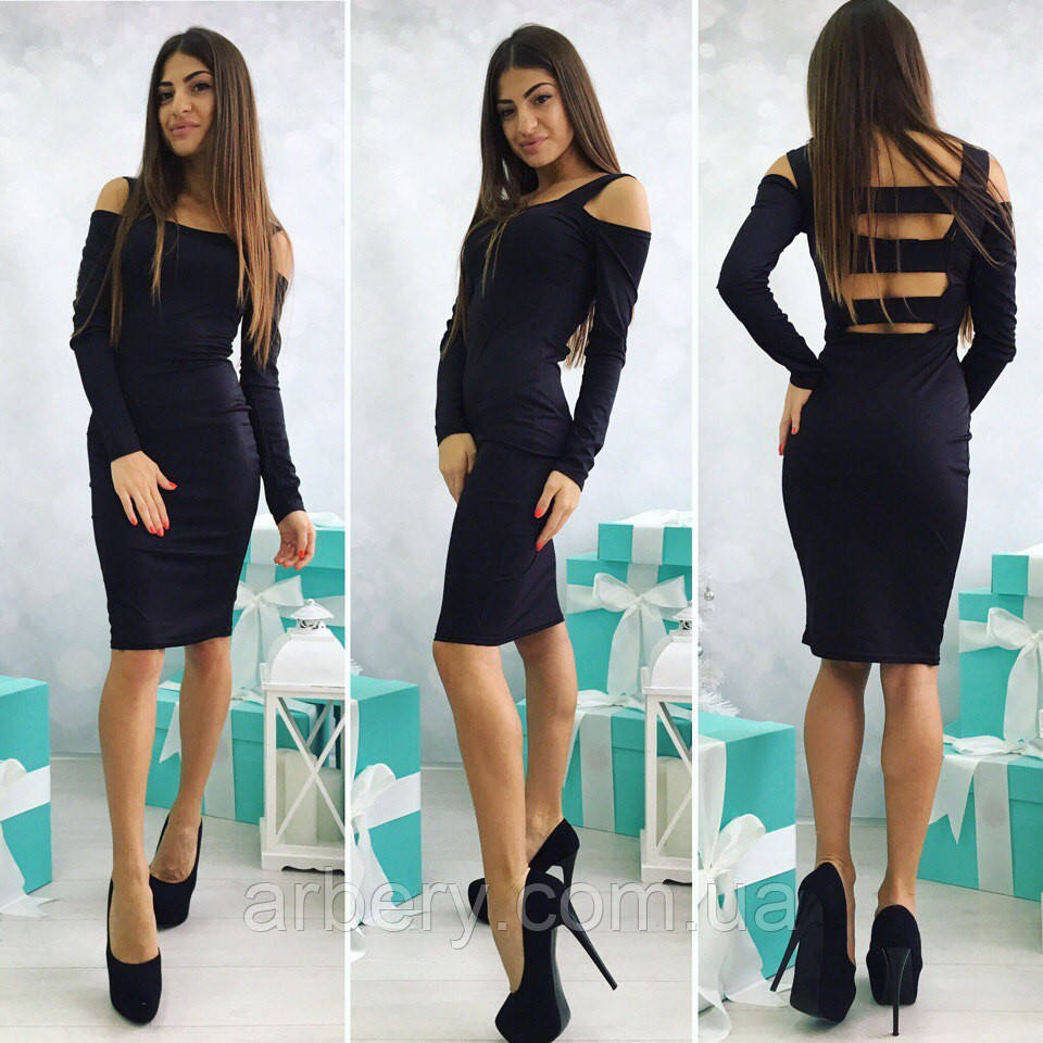 Платье с полосками на спине