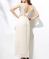 СВ-90158 Белый Гипюр Шифон Выпускное Платье Длинное Вечернее Кружевное