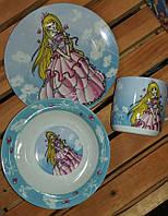 Детский набор посуды из керамики Принцесса 3 предмета