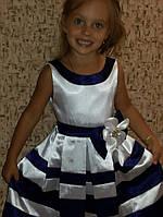 Детское нарядное платье для девочки  в полоску
