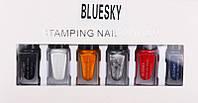 Набор лак-красок для стемпинга, Bluesky 6 цветов