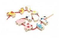 Деревянная игрушка Бусы Ферма (5 деталей) для детей от 1 года ТМ Lucy&Leo LL136