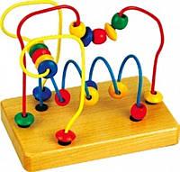 """Деревянная игрушка Пальчиковый лабиринт №1 с бусинками в картонной коробке ТМ """"Игрушки из дерева"""" Д070"""