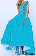 DL-60176 Бирюзовое макси платье с пышной ассиметричной юбкой