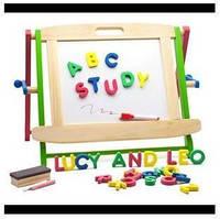 Деревянная Настольная доска малая для детей от 3 лет (для мела + маркеров и фломастеров) ТМ Lucy&Leo LL134