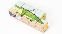 Деревянная развивающая игрушка кубики Животные Саванны (9 шт.) для детей от 1 года ТМ Lucy&Leo LL123