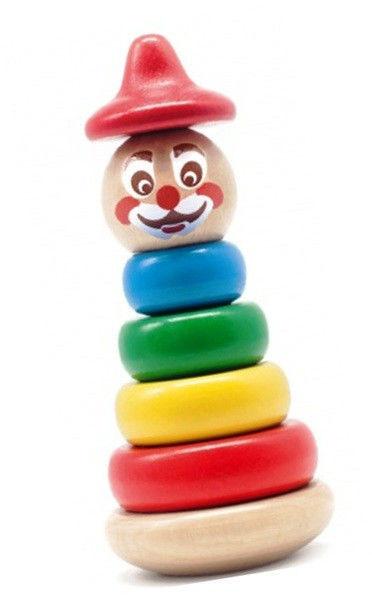 """Дерев'яна пірамідка-неваляшка """"Клоун 4"""" для дітей від 1 року ТМ """"Бомик"""" 816"""