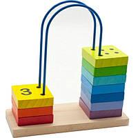 """Деревянная развивающая игрушка Счеты-лабиринт от 1 до 10 для детей от 1 года ТМ """"Игрушки из дерева"""" Д371"""