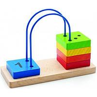 """Деревянная развивающая игрушка Счеты-лабиринт от 1 до 5 для детей от 1 года ТМ """"Игрушки из дерева"""" Д372"""