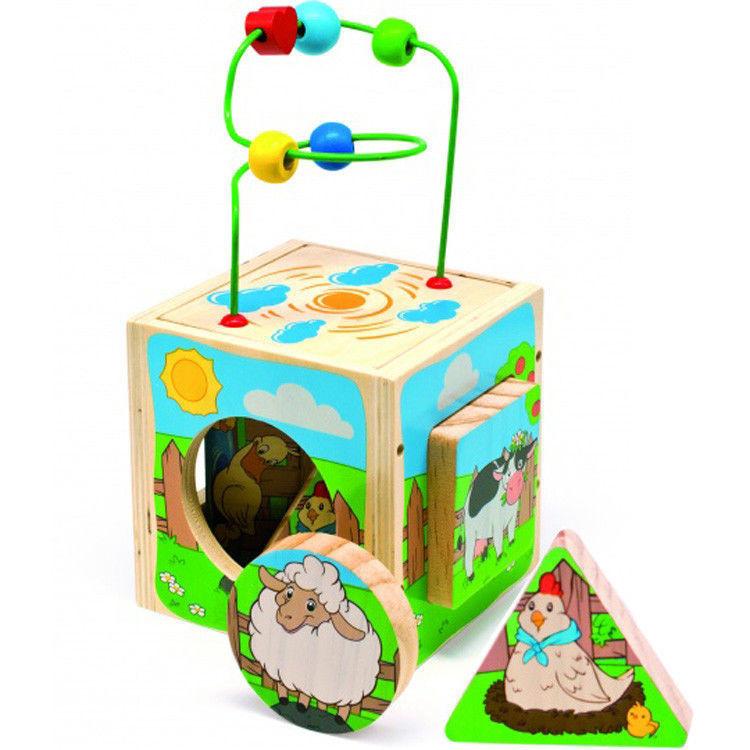 """Деревянная развивающая игрушка Универсальный куб «Ферма» для детей от 1 года ТМ """"Игрушки из дерева"""" Д374"""
